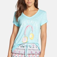 Women's COZY ZOE 'Music to My Ears' Donut Headphone Screenprint Tee,