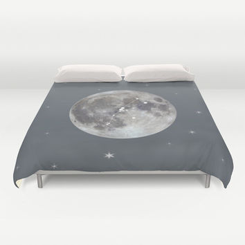 Moon Duvet Cover Zodiac Personalized, Queen King Full, Birthday Gift Bedding Dorm Decor Astrology Star Astronomy Women Cute Accent Designer