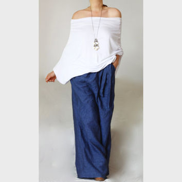 New Collection Flowy Oversized Top / White Off The Shoulder Tee/ Plus Size XXL XXXL Shirt Top Tee