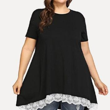Kylie Black Contrast Lace Top for Curvy Gals
