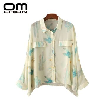 Turn-Down Collar Long Sleeve Chiffon Blouse Women Printed Sleeve Casual Loose Shirt
