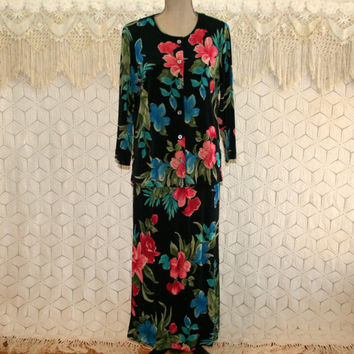 Hawaiian Tropical Dress Maxi Black Floral Skirt Set Knit Traveler Orchid Print Medium Large Womens Clothing