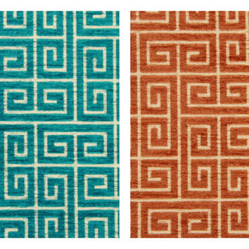 Turquoise Velvet Fabric - Greek Key Velvet - Modern Upholstery Fabric
