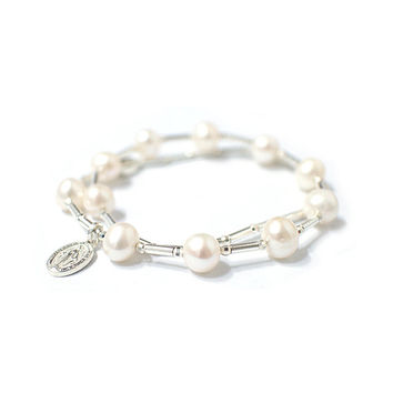 Pearl and Silver Rosary bracelet, Silver Cross, God mother, Silver pipe and small ball