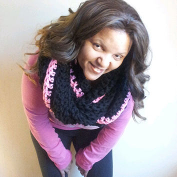 End of Season Sale Was  49 Now 30 Black and Pink Chunky Infinity Scarf