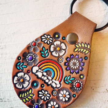 Rainbow and Flowers - Floral Leather key ring - hand painted and hand stamped - Ready to Ship - Vintage Style