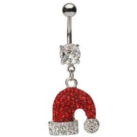 Crystal Gems Christmas Hat Dangling Belly Ring