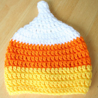 Halloween Candy Corn Hat, crochet photo prop, Halloween hat, white orange and yellow, Halloween costume, 5T and Up sizes available