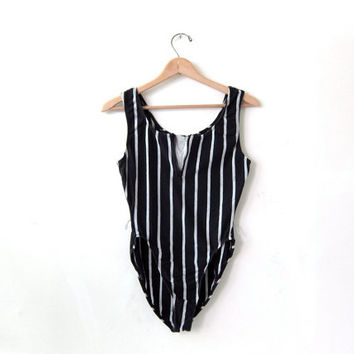vintage 80s leotard. Striped black and grey bodysuit. Onesuit. swimsuit.