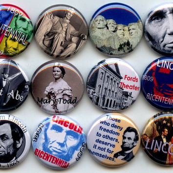 "Abraham LINCOLN 16th U.S. President Republican Civil War 12 Hand Pressed Pinback 1"" Buttons Badges Pins"