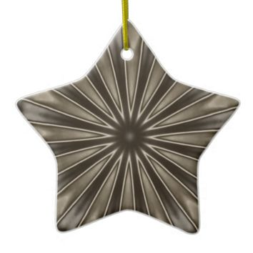 Stylish Elegant Kaleidoscope Design Brown Gray Ceramic Ornament