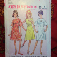 Retro Multiple Dress Pattern Simplicity 6936 Cut and Complete- Vintage 1960's