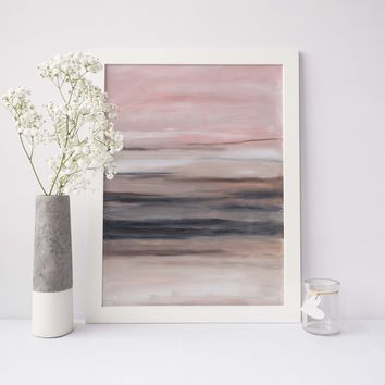 Blush and Beige Modern Minimalist Abstract Painting Wall Art Print