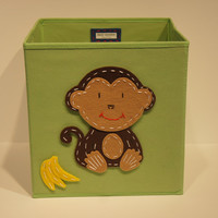 Storage Basket, Kids Storage Bin, Nursery Room Decor, Green, Monkey