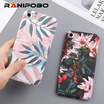 Fashion Cherry Flower Leaf Painting Phone Case For iPhone 6 6S Plus 7 7Plus 8 8Plus 5 5S SE Slim Pineapple Marble Hard PC Cover
