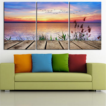 NO FRAME 3pcs sunset colors summer nature birds lake Printed Oil Painting On Canvas wall Painting for Home Decor Wall picture