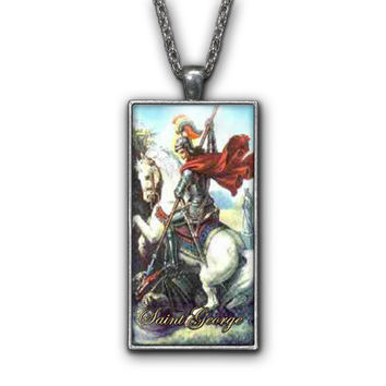 Saint George Painting Religious Pendant Necklace Jewelry