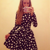 Black Heart Print Long Sleeve Skater Dress