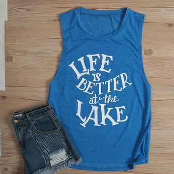 Life Is Better At The Lake Tank Tops - Ladies Crew Neck Novelty Sleeveless