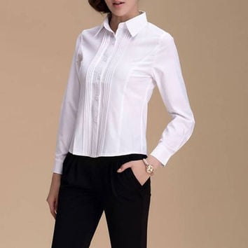 Solid Color Turn-down Collar Long Sleeve Blouse