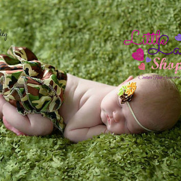 Camo Yellow Brown Green Newborn Headband, Baby Headband, Infant Newborn Girl Props, baby photography props, vintage couture, Toronto Canada