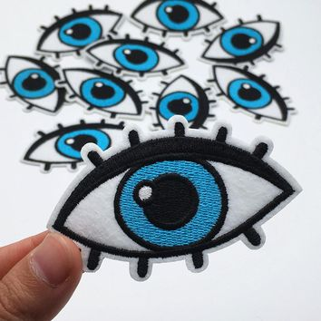 2PCS New Fashion Embroidered Eye Patch Iron on Patches for Clothes DIY Jacket Jeans Stickers Nice Appliques Accessories A471