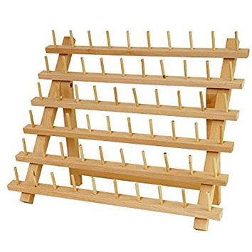 US Art Supply Premium Beechwood 60-Spool Sewing & Embroidery Thread Rack