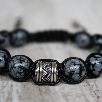 Men shamballa bracelet Snow obsidian Gift for brother For him Bracelet adjustable Black Healing bracelet Bracelet energy Macrame jewelry