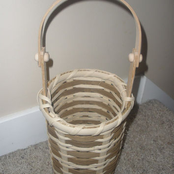 Natural and smoked reed wine hostess basket handwoven