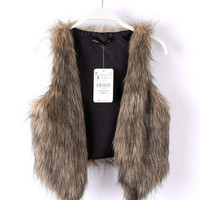 autumn winter womens fur vest girl comfortable sleeveless sweater lady warm sleeveless garment casual gilet fashion top + free gift cute elephant ring 143