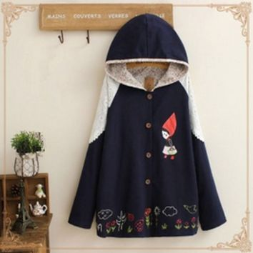 Japanese cute printed stitching lace hooded coat