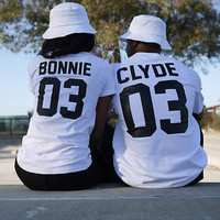2016 European Street Style BONNIE CLYDE 03 Letter Print T-shirt Summer Male And Female Shirt Graphic Tees Women Men Sport Tops