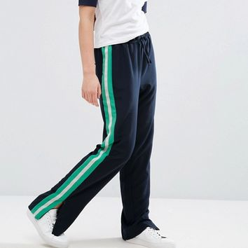 Monki Side Stripe Wide Leg Trousers at asos.com