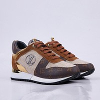 LV Louis Vuitton Women's Suede Leather Fashion Sport Sneakers  Shoes