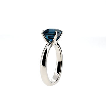 Size 5.5, London blue topaz ring, white gold, engagement ring, emerald cut, square, blue engagement, topaz, blue topaz, solitaire, teal