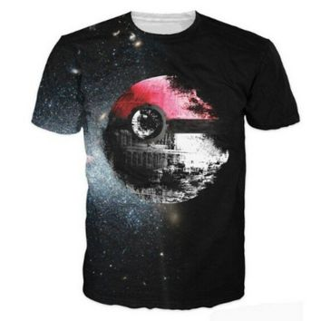 New Fashion Womens/Mens Pokemon and Star Wars Vibrant 3D Print Casual T-Shirt Caual Loose Tops Bouse S-XXXL