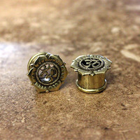 "Pair Antique Brass Plugs, Om Symbol Double Flare Gauges, 0G 00G 1/2"" 9/16"" 5/8"", Body Jewelry Nickel Free"