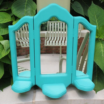 Decorative turquoise vanity mirror, wall-mounted, hand-painted in Annie Sloan Florence chalk paint