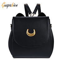 Guapabien Korean Women Backpack PU Leather Sailor Moon Backpack Black White Luna Cat Ladies Backpack Girls Travel Back Pack