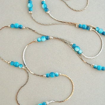 VINTAGE Long Silver CHAIN Tin Cup Necklace Beaded BLUE Round Small Beads Mint c.1970's