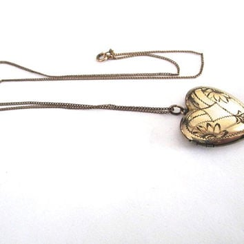 Heart Locket Sweetheart Necklace Chain Engraved Vintage Gold Filled Large Valentines Day