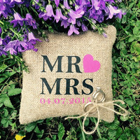 Wedding rustic natural linen Ring Bearer Pillow MR and MRS text and fuksia red heart