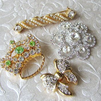 Sparkly Sweet Little Brooch Lot of 4 Rhinestone Brooches Pearl Bar Pin Green Crown Rivoli Flower Gold Bow Mixed Set Vintage Costume Jewelry