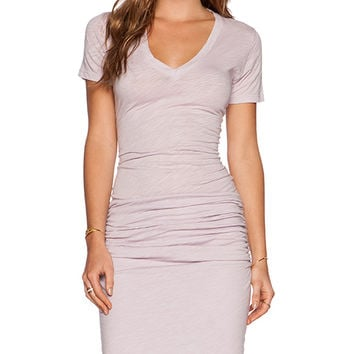 MONROW Heritage V Neck Dress in Purple