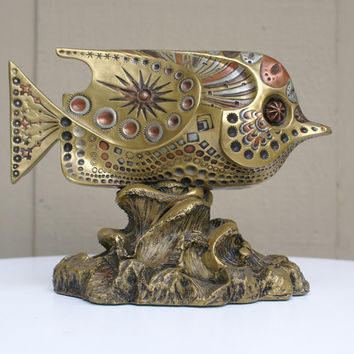 Vintage Giovanni Schoeman Bronze Fish Sculpture
