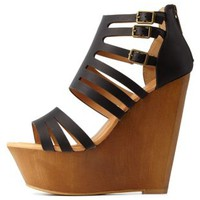 Black Dollhouse Caged Wooden Platform Wedges
