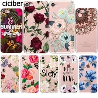 Summer Flower Fresh Retro Rose Peony Mandala Silicon Transparent Clear Phone Case for Apple iphone 5S 6S 6plus 7plus SE 5 Coque