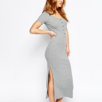 ASOS PETITE Maxi Dress In Rib With Button Front