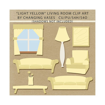 Pastel Yellow Living Room Clipart Clip Art Graphics, Family Room, Sofas, Chair, Table, Flower, Window, Lamp, Artwork, Scrapbook Elements