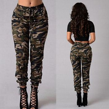 2018 New Fashion  Women Camouflage Pants Camo Casual Cargo Joggers  Army Harem Trousers Hot Sell